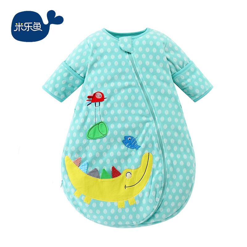 ¥139 米乐鱼 婴幼儿一体式秋冬睡袋宝宝幼童可拆袖摇粒绒空调被